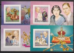 Burkina Faso - 1985 - Bloc Feuillet N°Mi. 96B à 99B - Queen - Non Dentelé / Imperf. - Neuf Luxe ** / MNH / Postfrisch