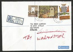 1980, ZAMBIA. REGISTERED COVER, NATIONAL MUSEUM LIVINGSTONE, ZAMBEZI RIVER SOURCE, MUMBWA VIA LUSAKA TO UK.