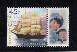 Australia P Stamp FU - Clipper Ship With Cute Pair