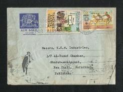 Kenya Tanzania Uganda 1973 Air Mail Postal Used Aerogramme Cover Kenya To Pakistan  Olympics Sports Game