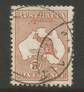 AUSTRALIA - 1913 5d CHESTNUT KANGAROO (FIRST WATERMARK), S.G 8, USED (o)