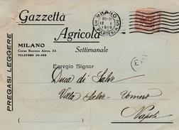 6002.   Da Gazzetta Agricola A Antonio Winspeare Duca Di Salve Vomero Napoli 1916