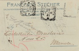 6003.   Da Francesco Stecher Salsamenteria Liquori Spiriti Vini Coloniali Caltanissetta Per Marsala 1906