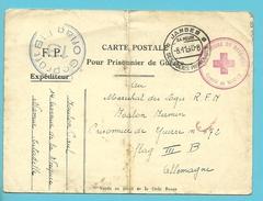 """Postkaart """"Prisonnier De Guerre"""" + Stempel CROIX-ROUGE DE BELGIQUE / COMITE DE NAMUR, Stempel JAMBES Naar OFLAG III"""