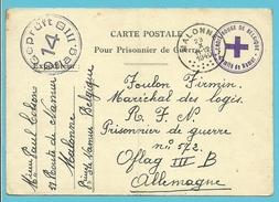 "Postkaart ""Prisonnier De Guerre"" + Stempel CROIX-ROUGE DE BELGIQUE / COMITE DE NAMUR, Stempel MALONNE Naar OFLAG III"