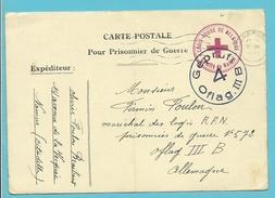 """Postkaart """"Prisonnier De Guerre"""" + Stempel CROIX-ROUGE DE BELGIQUE / COMITE DE NAMUR, Stempel NAMUR Naar OFLAG III"""
