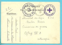 """Postkaart """"Prisonnier De Guerre"""" + Stempel CROIX-ROUGE DE BELGIQUE / COMITE DE NAMUR,naar OFLAG III"""