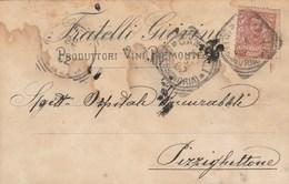 6005.   Da Fratelli Giovine Produttori Vini Piemontesi Canelli A Ospitale Incurabili Mazza Pizzighettone Cremona 1902