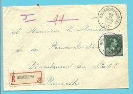 724T (-10%) Op Brief Aangetekend Met Stempel HOMBOURG (LIEGE), Met Aantekenstrookje HOMBOURG
