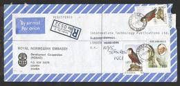 1989, ZAMBIA. TAITA FALCON BIRD OF PREY, POPE JOHN PAUL II, VICTORIA WATERFALLS REG CVR OF NORWAY EMBASSY, LUSAKA TO UK.