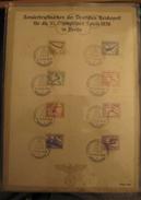 Gedenkblatt Olympia 1936 Berlin Fahrbares Postamt, Mi. 609-616, SST Special Cancellation, Value 22,-+