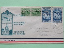 USA 1933 First Flight Cover Concord To Philadelphia - Fort Dearborn (2x Imperf.) - Byrd Antarctic Expedition Globe Map