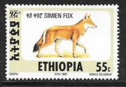 Ethiopia, Scott #1393K Unused No Gum Simien Fox, 1994
