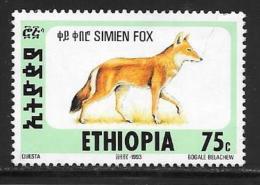 Ethiopia, Scott #1393O Used Simien Fox, 1994, Crease, Short Perf