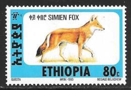 Ethiopia, Scott #1393P Mint Hinged  Simien Fox, 1994