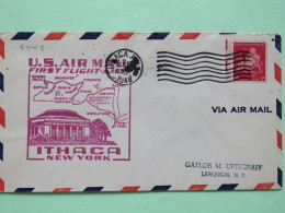USA 1948 First Flight Cover Ithaca (Buffalo And Niagara Falls Back Cancel) To Lewiston - Plane - Map - Verenigde Staten