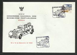 Portugal Cachet Commémoratif Voiture Sapeurs-pompiers Congrès Régua 1980 Event Postmark Firefighters Congress Fire Car