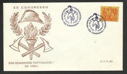 Portugal Cachet Commémoratif Sapeurs-pompiers Congrès Viseu 1972 Event Postmark Firefighters Congress