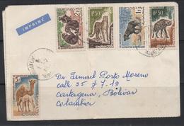 S890 .-. MAURITANIA / MAURITANIA COVER 1964 TO CARTAGENA-COLOMBIA 13-JUN-1964. HYENE/GUEPARD/BABOUINS/DROMEDARIE