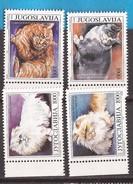 1992  2544-47  FAUNA  GATTI  KATZEN  JUGOSLAVIJA JUGOSLAWIEN  MNH