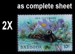 CV:€13.00 BULK: 2 X BARBUDA 1987 MARINE LIFE Sea Cucumber 10c Complete Sheet:50 Stamps