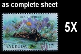 CV:€32.50 BULK: 5 X BARBUDA 1987 MARINE LIFE Sea Cucumber 10c Complete Sheet:50 Stamps