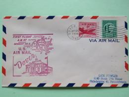 USA 1949 First Flight Cover Dover (Washington Back Cancel) To Philadelphia - Map - Plane - Freedom Of Speech - United States