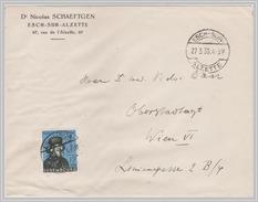 Luxembourg - 1938 Dk Sigismond 1.75F+1.50F Semi-postal - Sole Franking - To Austria In 1939