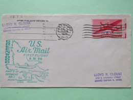 USA 1949 First Flight Cover Greenwood (Charlotte Back Cancel) To Grand Rapids - Eagle Plane - United States
