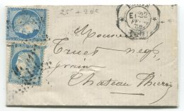 N°37  + Cérès N°60 + étoile 1 + Cachet Octogonal De Levée Exceptionnelle  /lettre De Paris  Pour Chateau-Thierry (aisne)