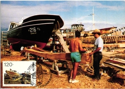 AZORES AÇORES PICO ISLAND BOAT BATEAU CARPENTER  Charpentier PORTUGAL CARTE MAXIMUM - MAXICARD (2 SCANS)