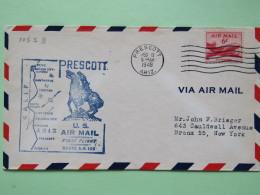 USA 1949 First Flight Cover Prescott (Phoenix Back Cancel) To Bronx - Map - Horse - Plane - Brieven En Documenten