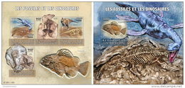 CENTRAL AFRICA 2015 ** Fossils & Dinosaurs Fossilien & Dinosaurier M/S+S/S - OFFICIAL ISSUE - A1552
