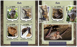 SIERRA LEONE 2016 ** Bats Feldermäuse Chauves-souris M/S+S/S - OFFICIAL ISSUE - A1646