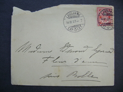 Switzerland Cover 1897 Sent From Lausanne To Rolle - Cross Over Value Plate 10 Ct.