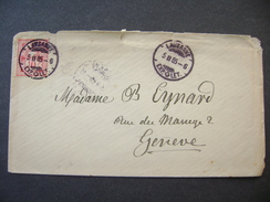 Switzerland Cover 1885 Sent From Lausanne To Geneve - Cross Over Value Plate 10 Ct.