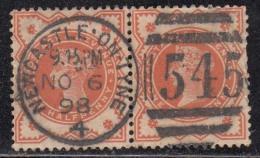 ½d Half Penny, Great Britain Used 1887 Jubille Series Circular Number Postmark No. 545 Newcastle On Half Penny, Postmark
