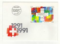 Enveloppe 1er Jour HELVETIA SUISSE Oblitération 3000 BERN 22/02/1991