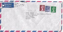 Great Britain Airmail 2010 Machin Definitive 28p, 2p, 1p To Pakistan