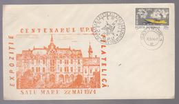 COVER U.P.U. ROMANIA -CENTENARY U.P.U Philatelic Exhibition 1974 SATU MARE