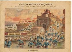 Couverture De Cahier 19° Siècle - L'indochine - Illustration Assaut De Son-tay - Signature Traité Tien-Tsin - Animals