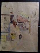 Aquarelle Jeanne Besnard Fortin 1892-1978 Le Village Troubadour Pierre De Vic Moine De Montaudon - Aquarelles