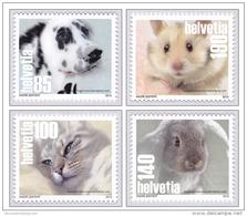 Switzerland 2015 (01/2015) Pets Pet Or Companion Animal Dog Hund Cat Katze Rabbit Hamster Set Of Four MNH **