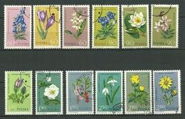 POLAND Oblitéré 1185-96 FLEURS PLANTES CROCUS ORCHIDEES GENTIANE ANEMONE Fleur Flower