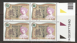 A503  FRANCOBOLLI QUARTINE REGIONI LOMBARDIA D´ITALIA 2005 CON NUMERI MATRICE MATRICOLA  DI SERIE NUOVI - 1946-.. République