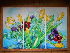 Tableau Acrylique Sur Toile Nature Morte  Bouquet De Tulipes 84,5cm X 55,5cm - Acrylic Resins