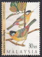606 Malesia 1997 Uccelli Birds Leiothrix Argentauris Passeri Mesia Orecchie D'Argento Used