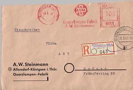 SBZ 1947 R-Brief Mit MaWSt. Firma ASTA Ab Allersdorf Königsee  [h250]