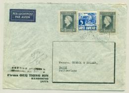 """Nederlands Indië - 1946 - """"Retour Afzender Te / Bijfrankering Met 30 Ct."""" Op Cover Van Bandoeng Naar Basle / Schweiz - Netherlands Indies"""