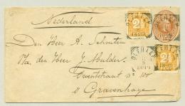 Nederlands Indië - 1899 - VK OLEHLEH En NI Postagent Penang Op Briefje Met Bijfrankering Naar 's Gravenhage / Nederland